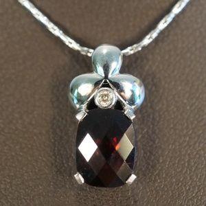 14KW Gold Genuine Garnet & Diamond Pendant W/Chain